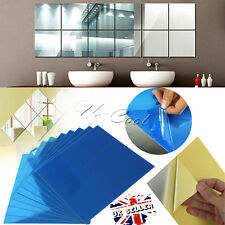 AU 9/16Pcs DIY Square Mirror Tile Wall Stickers 3D Decal Mosaic Home Room Decor