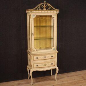Vetrina veneziana laccata mobile dipinto dorato 1 anta 2 cassetti libreria 900