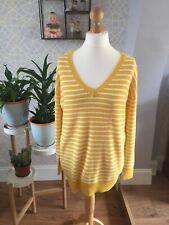 Ladies Gap Jumper Size 16 Chunky Knit Yellow V Neck Large BNWT Stripe Plus Size