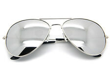 Men Women Vintage Retro Aviator Sunglasses Silver Mirrored Lens Metal Frame