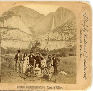 CALIFORNIA, Yosemite Falls from the Meadows, Group of People--U&U Stereoview V37