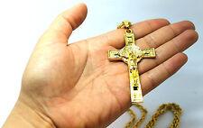 Para hombres Moda católico 18K Oro Cruz Collar Colgante Religión crusifix