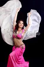 "plain white 3yd*45"" belly dance silk veil+bag, light 5mm silk, edges rolled"