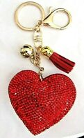 GREAT VALENTINE GIFT IDEA SPARKLY RED HEART TASSEL  BALL KEYRING BAG CHARM UK