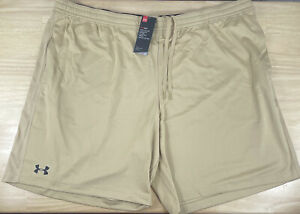 """Under Armour HeatGear Fitted Athletic 9"""" Tan/Gold Shorts 1310133-715 - Men's 4XL"""