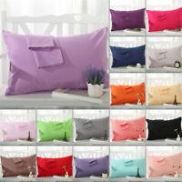 1/2Pcs Pure Cotton Pillow Cases Covers Pillowcase Standard Size Solid Colors New