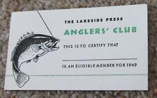 Vintage Anglers' Club membership card 1949 Lakeside Press fishing