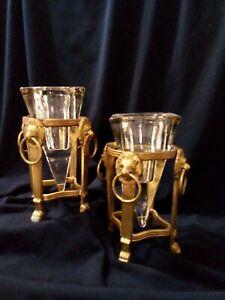 GIANNI VERSACE - Vintage Antique Lions Head Brass / Glass Candle Holder Set