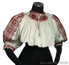 SLOVAK FOLK COSTUME embroidered peasant blouse ethnic red cross-stitch vintage