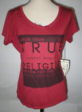 New Womens Designer True Religion Jeans Red Soft Tee Shirt Top Logo XL Crystals