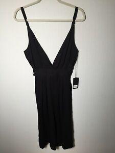 One Teaspoon womens black jumpsuit size XS aus 6 sleeveles viscose
