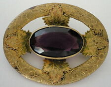 Punched Brass Art Nouveau/Art Deco Glass Amethyst Purple Stone Brooch Pin