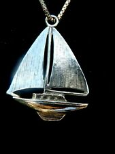 Silver Palladium sail boat pendant