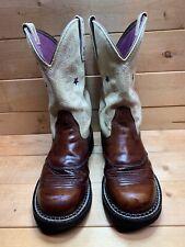 Ariat Fatbaby Cowboy Western Boots Roper Brown Leather/Bone 6.5 B
