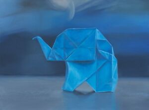 """Framed Original Oil Painting, """"Origami on Blue"""", Oil on Board (18x24"""")"""