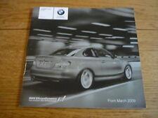 BMW 1 Series COUPE listino prezzi di vendita opuscolo MAR.. 2009