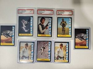 1977 Star Wars Wonder Bread 8 Card Lot ~ 3 PSA9 ~ Luke, Han Solo, Falcon, X-wing