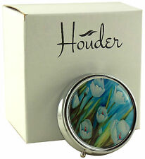 Cute Pill Box For Purse Decorative Pill Case Tulips Pill Holder Mint Case Metal