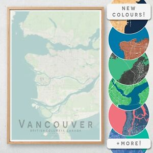 VANCOUVER Map Print, Canada Wall Art Poster City Map Wall Decor A3 A2 A1