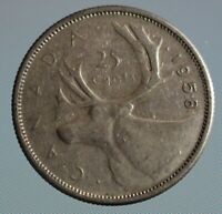 1958 Canada quarter - this 25 cent coin is 80% silver