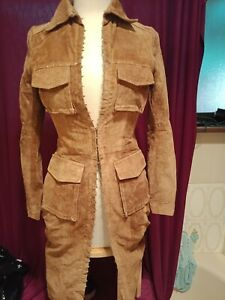 NO & VOI, ITALIAN  LONG CONTRAST SUEDE/DENIM WOMEN'S FITTED JACKET - SIZE S (40)