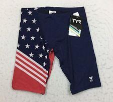 TYR Allegiance USA Flag AOP Jammer Swimming Swim Suit Shorts Trunks Men's 30