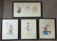 4 Vintage Japanese Paper Cut Out Pictures Of Musicians And Masks