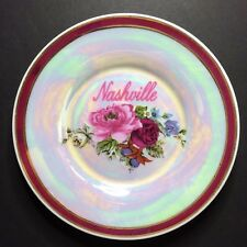 Vintage Nashville Pink & Red Rose Decorative Collectible Souvenir Plate 6 1/8""