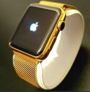 24k Gold Plated Apple Watch Series 2 Smart Watch Milanese Wristband GPS 42mm