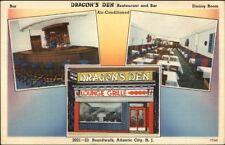 Atlantic City NJ Dragon's Den Chinese Restaurant Linen Postcard