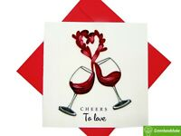 A toast of Love Quilling Greeting Card - Unique Dedicated Handmade Art