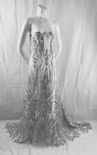 Silver Empire Design Embroider With Sequins On A White Mesh-Fashion-By The Yard.