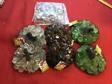 Approx 6 Lbs Flat Bottom Glass Gems Lot For Vases,Crafts,Etc. Green,Smoke,,Clear