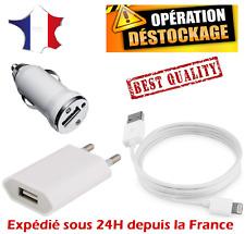 LOT CÂBLE / PRISE SECTEUR / CHARGEUR AUTO VOITURE IPHONE X 8 7 6 5 IPAD IPOD USB