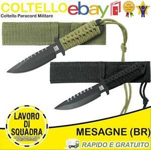 Coltello Militare Paracord modello Combat Knife Recon 18 cm con custodia OD/BK