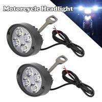 2x Lampe frontale phare lumière tache avant moto LED universelle 6V-80V PB