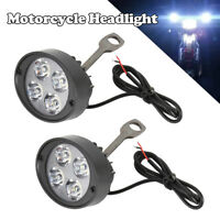 2x Lampe frontale phare lumière tache avant moto LED universelle 6V-80V BM