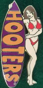 HOOTERS RESTAURANT Sexy BRUNETTE Waitress RED Bikini Girl PURPLE Surfboard PIN