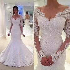 Mermaid V Neck Vintage Wedding Dresses Applique Lace Long sleeve Plus Size Gown