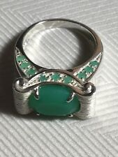 Beautiful Signed Sterling Silver Chrysoprase Designer Womens Ring Size 8, 8.8 Gr