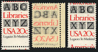 2015 20c Red & Black 1982 Shift Errors Plus Printed on Back 3 Items