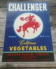 25 Challenger Vegetable Crate Labels California original 1950s wholesale Cowboy