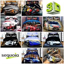 3D Car Motorbike Effect Photo Print Bedding Set Sport Duvet Cover Pillowcases EU