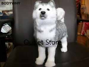 Lovely Simulation Husky Toys Standing Husky Dog Doll Gift Doll about 30cm
