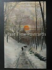 c1906 - A Merry Christmas & A Happy New Year - ' Sun setting on a snowy forest'