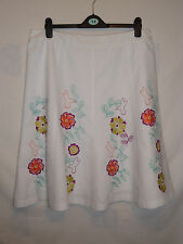 LADIES *LAURA ASHLEY* LINEN BLEND FLORAL SKIRT SIZE 18 WORN ONCE IMMACULATE.
