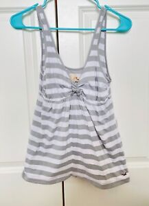 Cute Junior Girl's Medium Hollister Stripped Grey and White Tank Top Blouse
