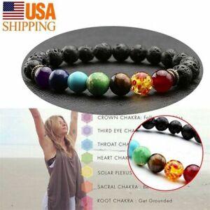 7 Chakra Healing Beaded Bracelet Natural Lava Stone Diffuser Bracelet Gift