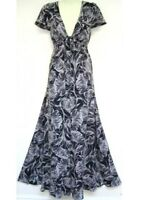 "BNWT "" MONSOON "" Size 10 MARIANNE BLACK FLORAL SILK MAXI DRESS (38EU)  RRP £140"