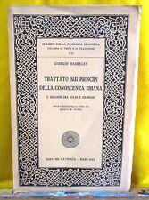 Berkeley TRATTATO SUI PRINCIPI DELLA CONOSCENZA UMANA Classici Filosofia Laterza